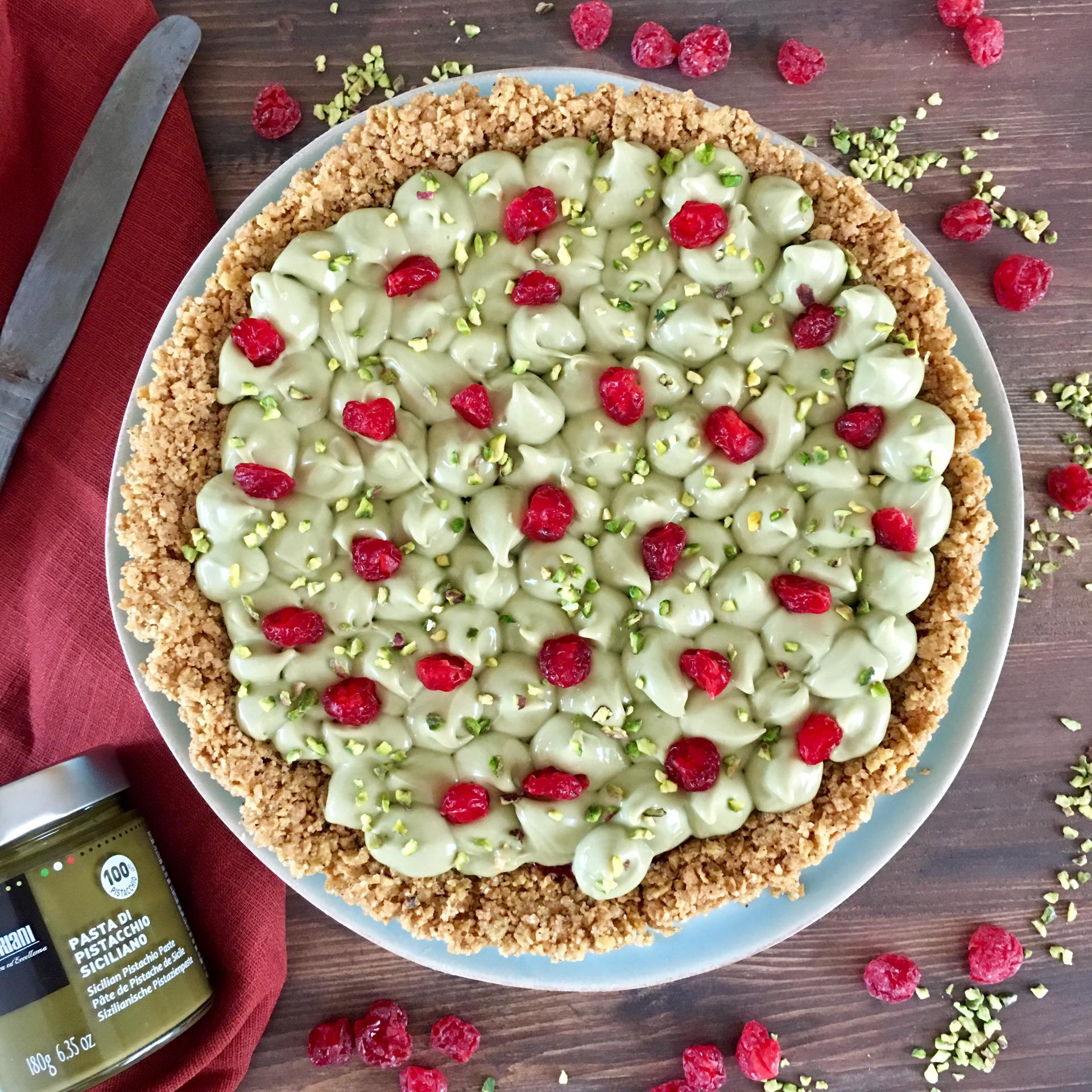 CORNFLAKES-CAKE ALLA NAMELAKA DI PISTACCHIO E LAMPONI